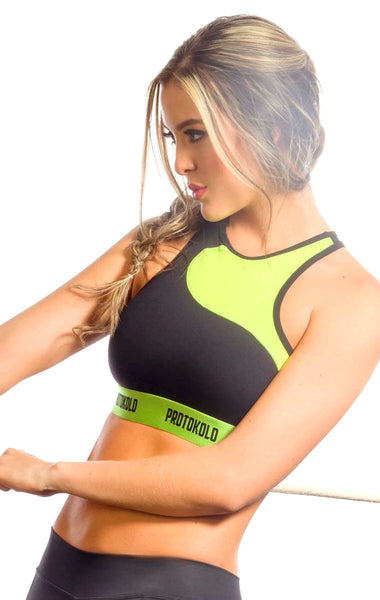 Protokolo - Green and Black Sports Bra