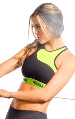 Protokolo - Green and Black Sports Bra - Roni Taylor Fit  - 1