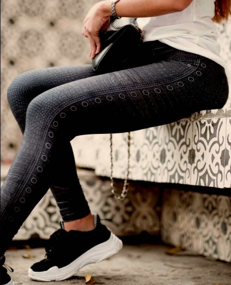 FP - Black Gator Jean Leggings