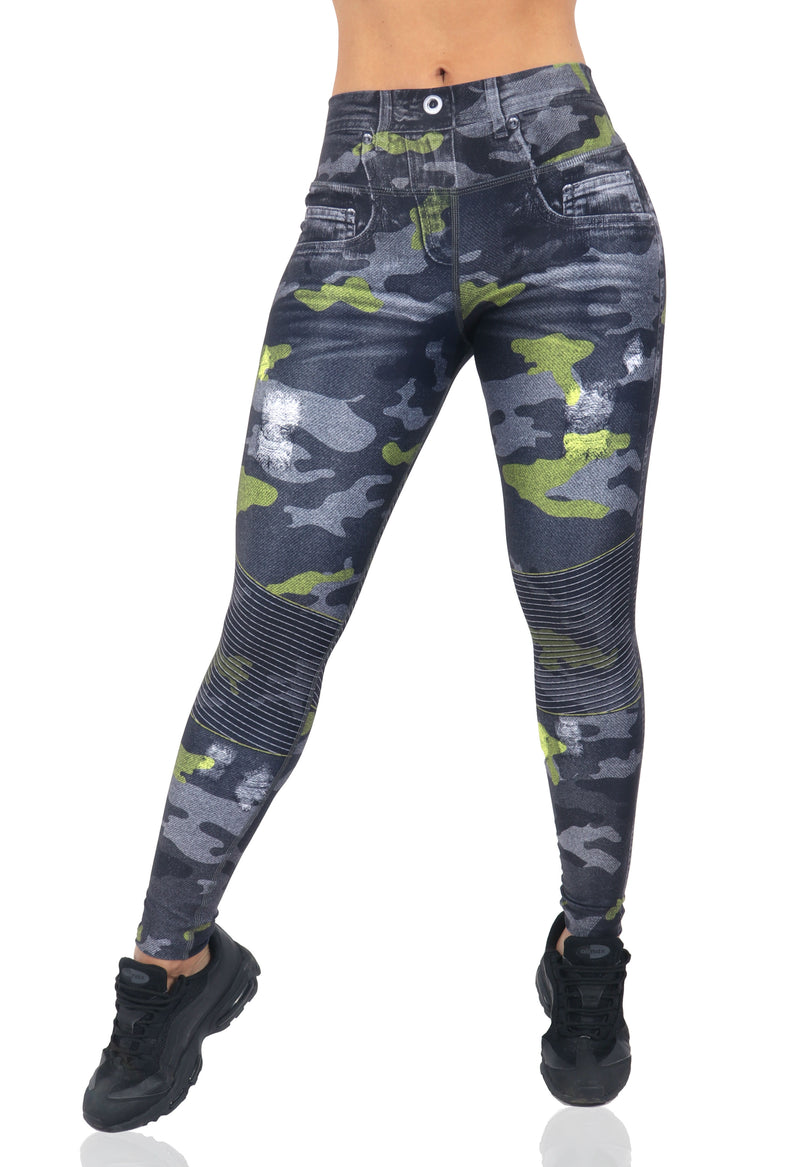 FP - Green Camo Jean Leggings