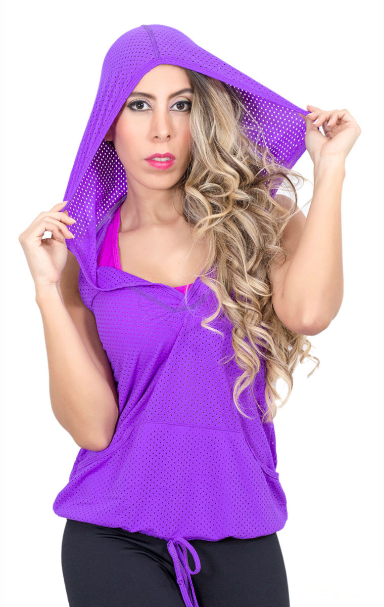 Fiber - Purple Mesh Sleeveless Hoodie