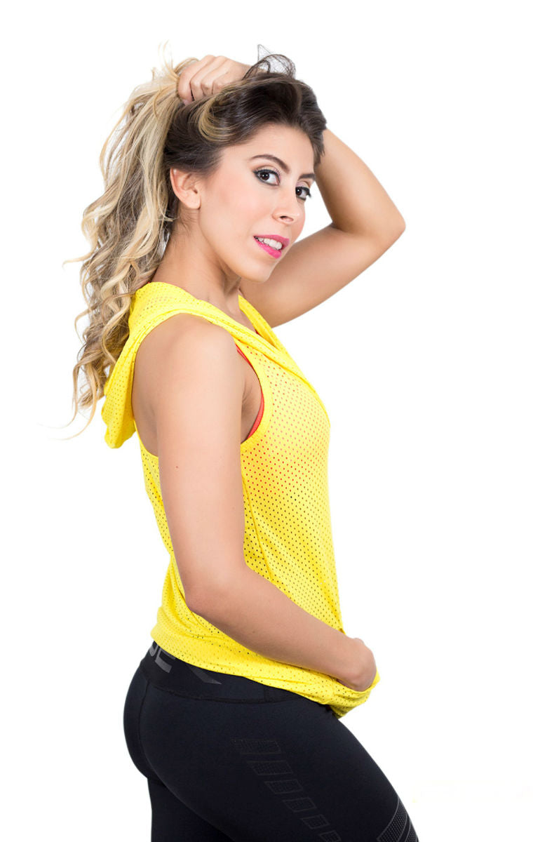 Fiber - Yellow Mesh Sleeveless Hoodie