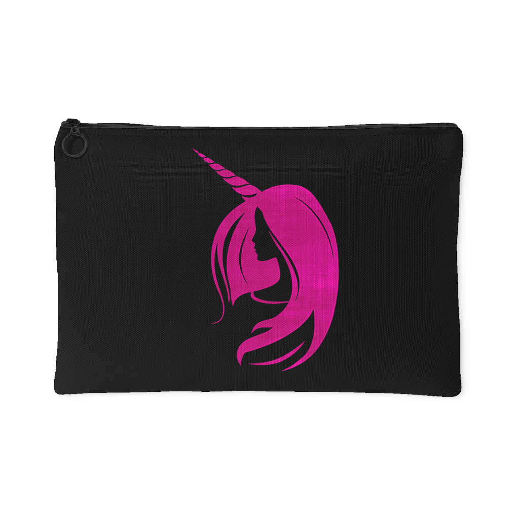 Unicorn Woman Accessory Pouch (Black) - 2 sizes