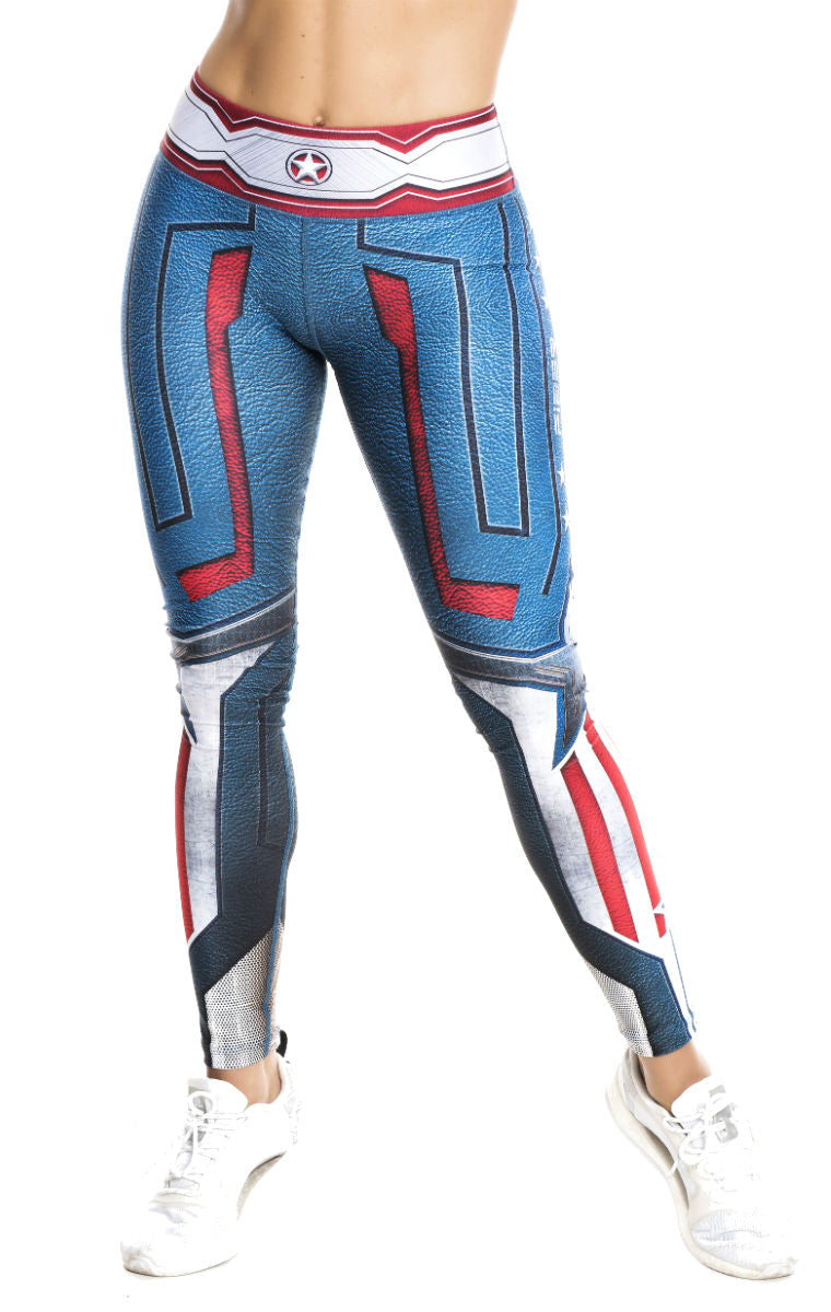 S2 Activewear - UNISEX Captain America Leggings - Roni Taylor Fit