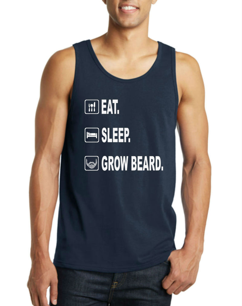 Eat. Sleep. Grow Beard. Men's Tank Top