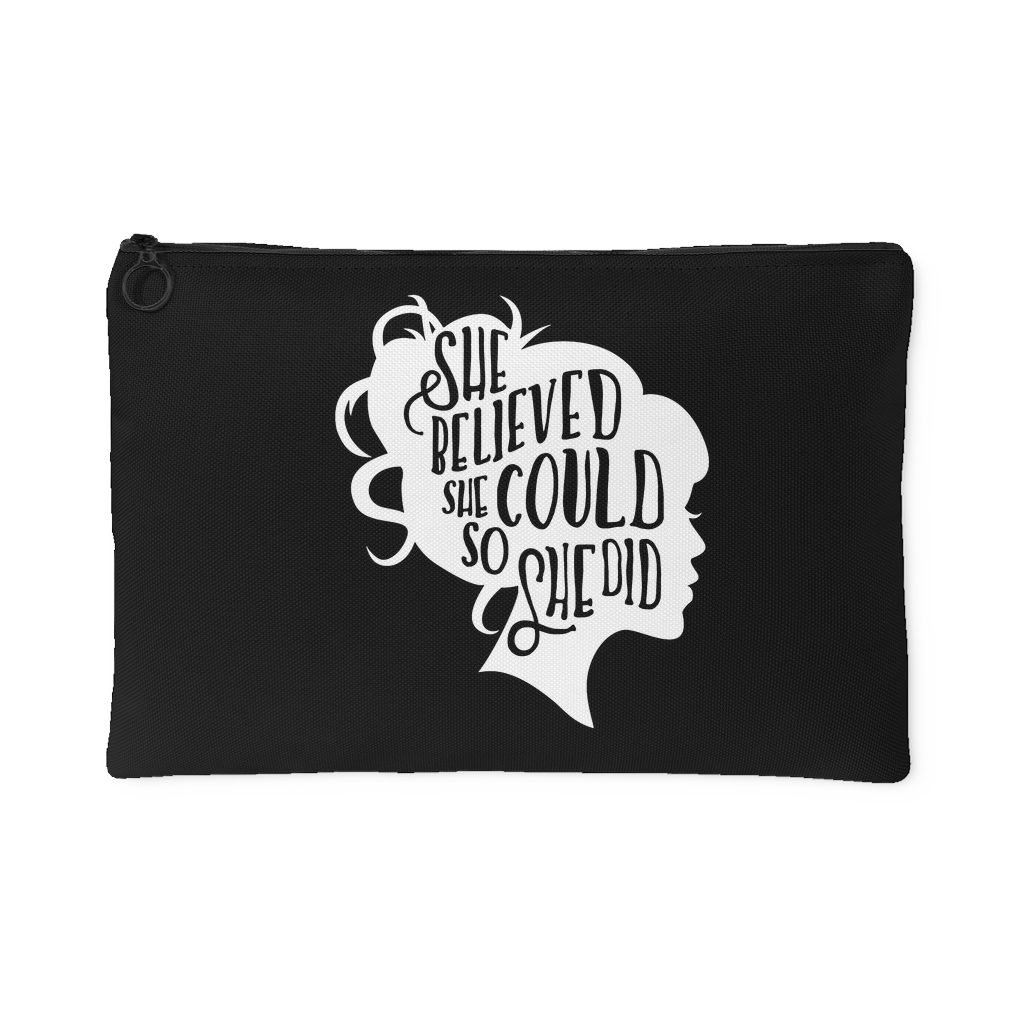 She Believed She Could So She Did 1 Black Accessory Pouch (Black) - 2 Sizes