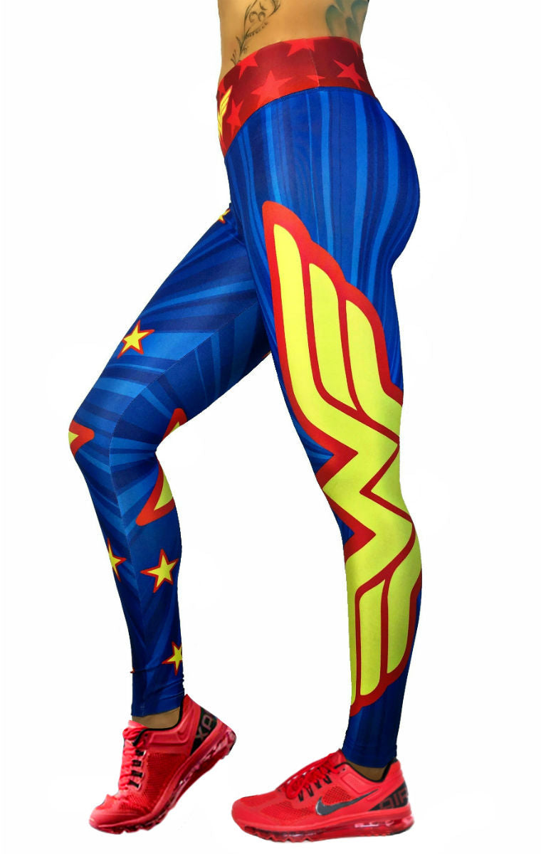 S2 Activewear - Wonder Woman Yellow Star Leggings - Roni Taylor Fit  - 1