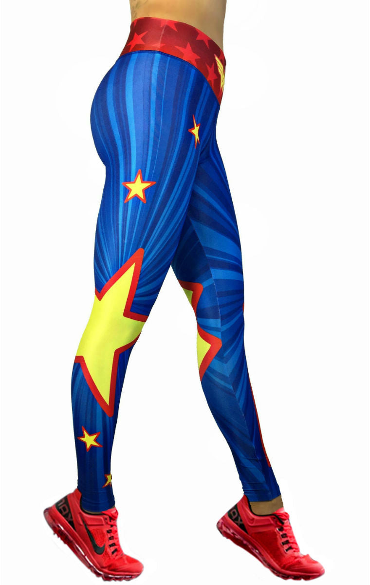 4a629775a0543 Exit 75 - Wonder Woman Yellow Star Leggings – His and Hers Athletics