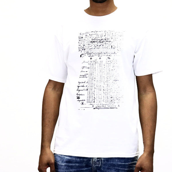 Black Scale Hermetic Scripture T-Shirt - White