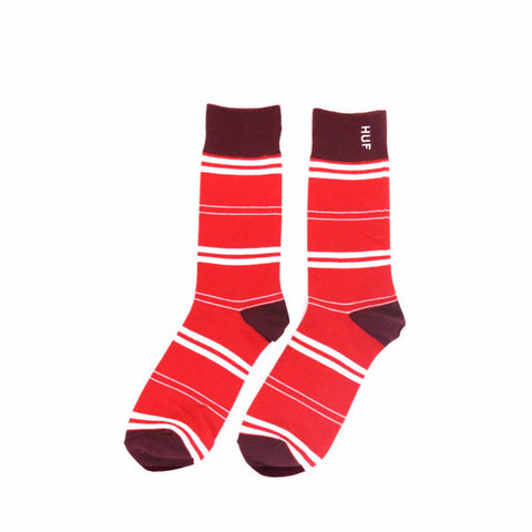 HUF Striped Crew Sock - Red / Wine / White