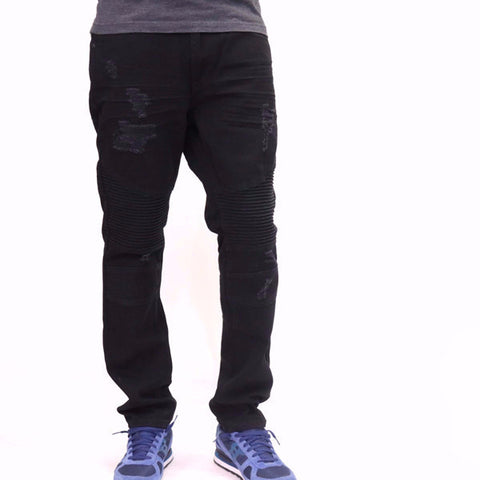 Bleecker & Mercer Slim Taper Fit Solid Black Denim Biker Jeans