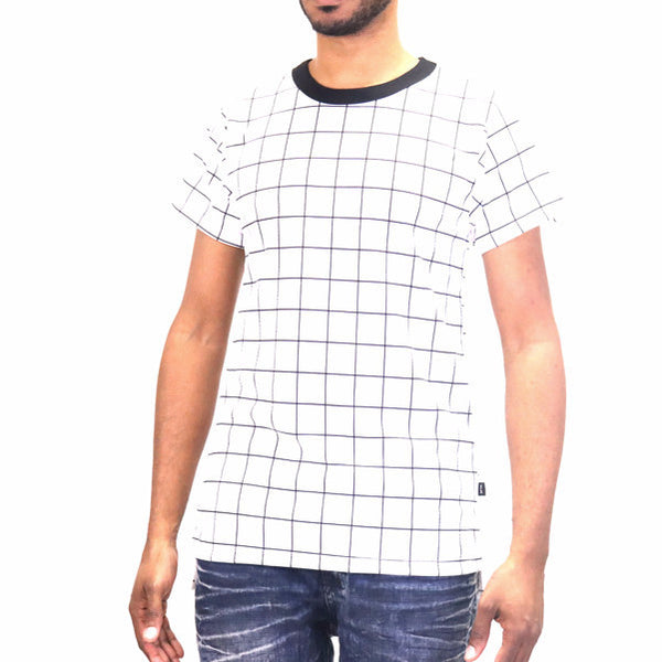 EPTM Square Bottom Long Tee Shirt - Grid Lock