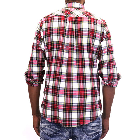 EPTM Side Zip Flannel Button Up Shirt - Red/White