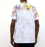 Staple Pigeon Map All Over Print T-Shirt - White