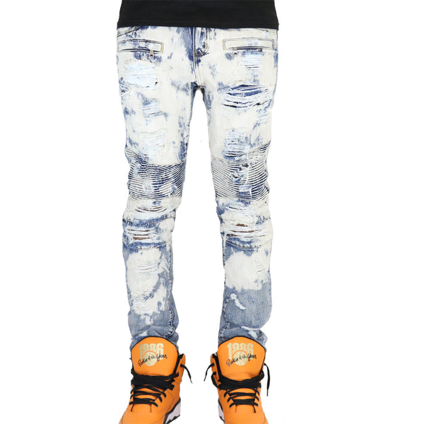 Embellish Strangler Denim Jeans - Blue Bleach