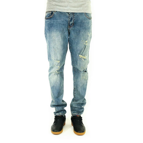 Crysp Denim Kylo Distressed Denim Jeans - Blue