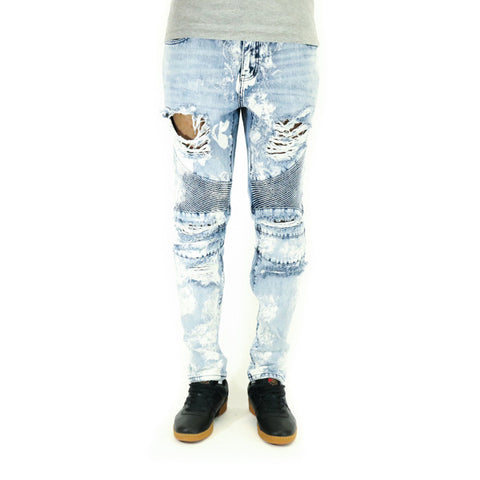 Crysp Denim Skywalker Biker Denim Jeans - Distressed Acid Wash