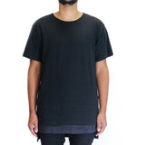 EPTM Faux Layer Square Bottom Long Tee Shirt - Black