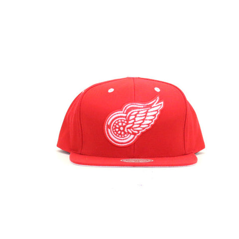 Detroit Red Wings Solid Velour Logo Snapback Hat - Red