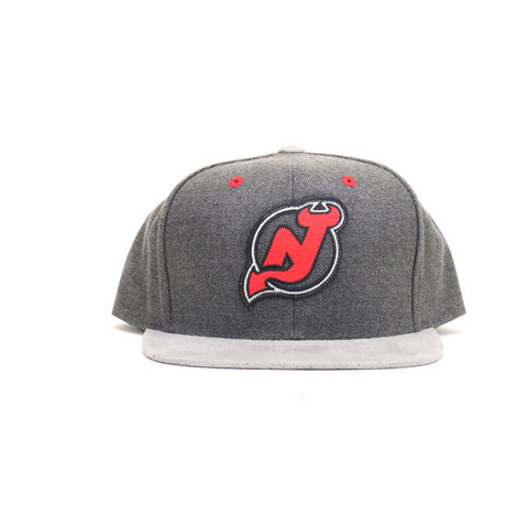 New Jersey Devils Cation Suede Snapback Hat - Gray