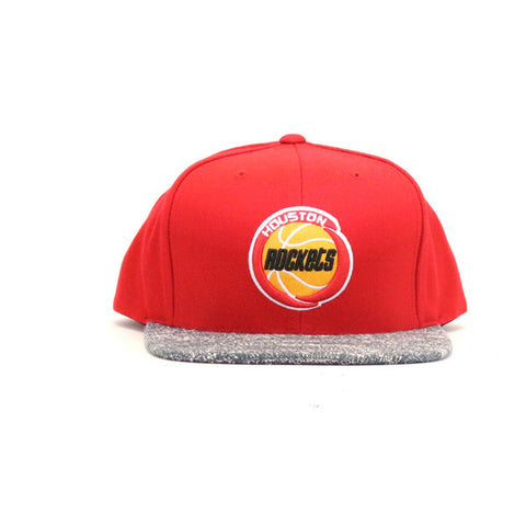 Houston Rockets Grey Noise Snapback Hat - Red