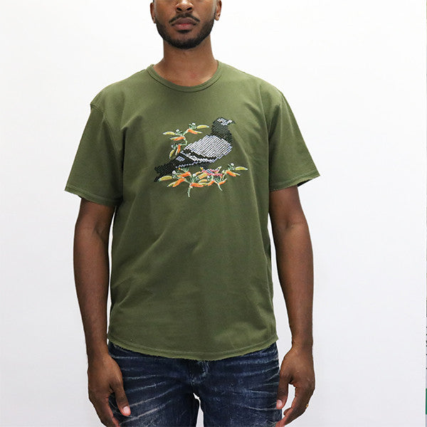 Staple Pigeon Military Embroidered T-Shirt - Olive