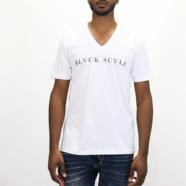 Black Scale Triple Templar V-neck - White