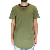 Civil Regime Jagger Drop Ringer Tee Shirt - Dark Olive