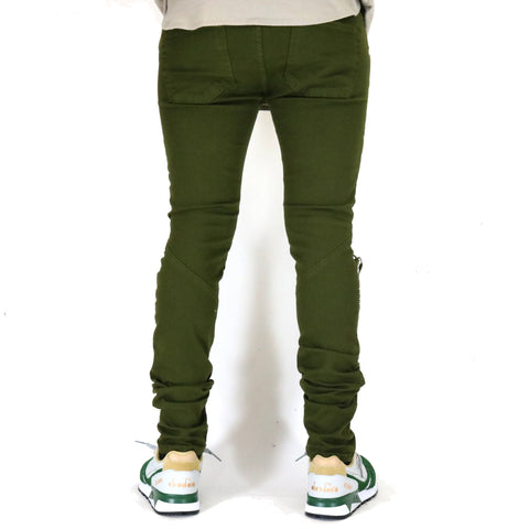 Golden Denim The Reign Denim Biker Jeans - Olive