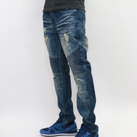 Bleecker & Mercer Slim Taper Fit Drk Indigo Denim Biker Jeans