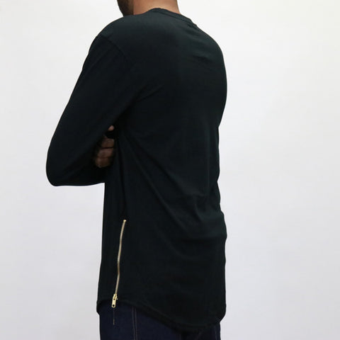 Bleeker & Mercer Elongated L/S Zip Shirt - Black