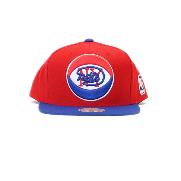 low priced b5238 6d67d New Jersey Nets XL Logo Two Tone Snapback Hat - Red