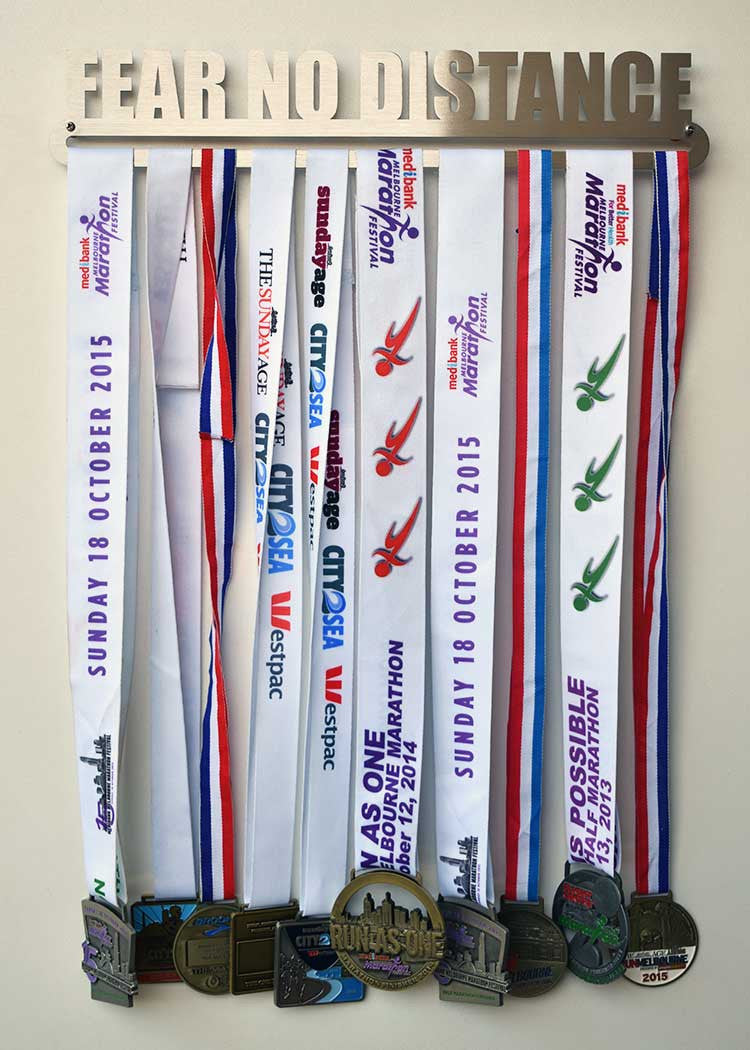 Race Medal Display Hanger - Fear No Distance™ - MedalDisplays.co.uk