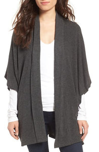 Cupcake & Cashmere Cerise Heather Charcoal Cardi
