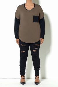 Army Green Long Sleeve Pocket-T