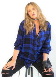 Blue Plaid Button Down Top
