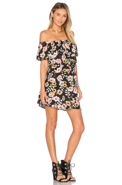 Cupcake & Cashmere Trenton Black Floral Off Shoulder Dress