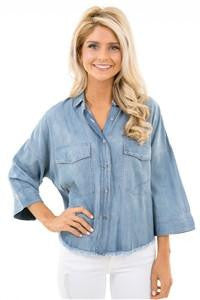 Karlie Chambray Fray Buttondown Top