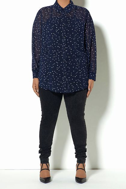 Navy/Star Button Down Blouse