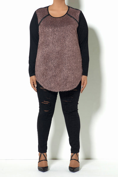 Furry Pink Sweater with Black Sleeves