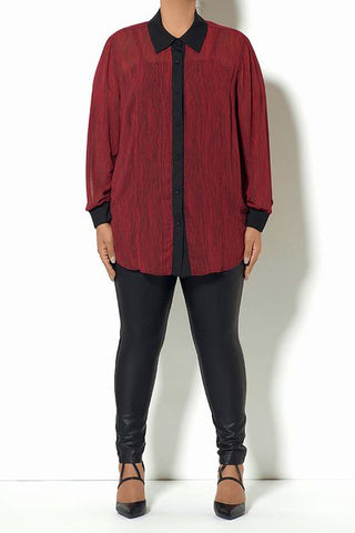 Red & Black Button Down Blouse
