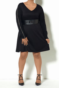 Black Zipper Party Dress