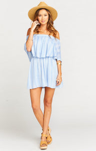 Show me your Mumu Casita Mini Dress- Stripe Periwinkle