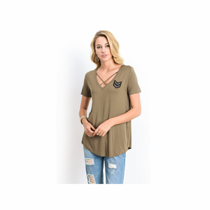 Short Sleeve Front Criss Cross Top with Arrow Patch