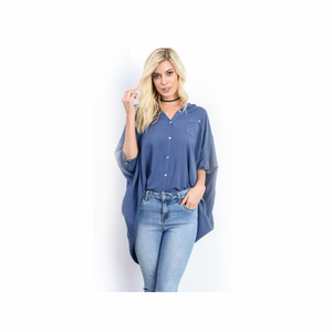 3/4 Sleeve High-Low Button Down Shirt