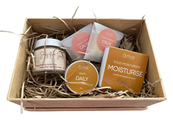 Sensitive Soul Gift Box, Moisturiser, Balm, Deodorant, Shampoo & Conditioner samples