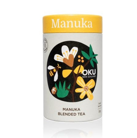 MANUKA TEA - Loose Leaf  Description: Manuka is most well-known for its honey made from the nectar of the flower, however the leaf was traditionally used as a tea replacement by early settlers in New Zealand. This incredibly fragrant leaf is what contains the remarkable properties of the Manuka essential oil. This blend balances the pure taste of Manuka Leaf with hints of Spearmint and Lemon Peel that lend citrus minty tones to this unique NZ herb.