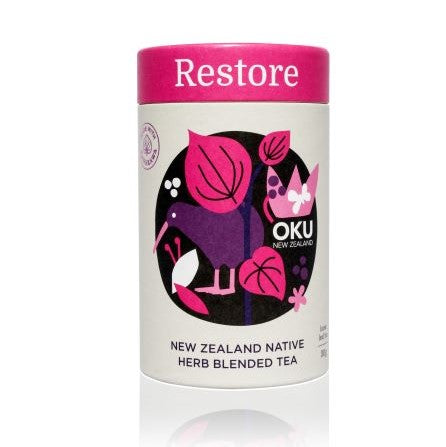 escription: Restore brings together a remarkable blend of NZ Native Herbs that combine Kawakawa, Karamu, Manuka and Kumarahou. These are combined with the spiciness of Cinnamon and the wonderful properties of Nettle leaf that is well known in herbal folklore. Together these herbs create a truly unique combination that are all about helping and supporting you stay in balance and harmony.
