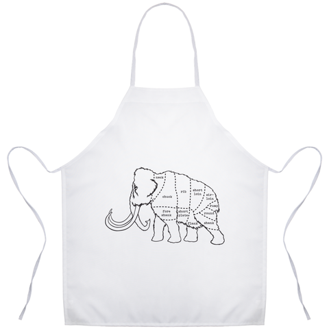 Woolly Mammoth Butcher Cut Diagram Apron