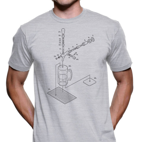 Exploded Beertap and Mug Men's Graphic Tee